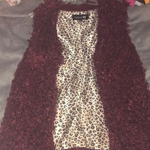 Burgundy shaggy fur vest